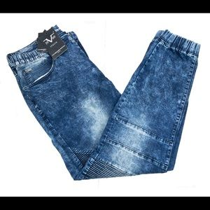 Versace V1969 Mens Blue Fade Premium Stretch Jeans